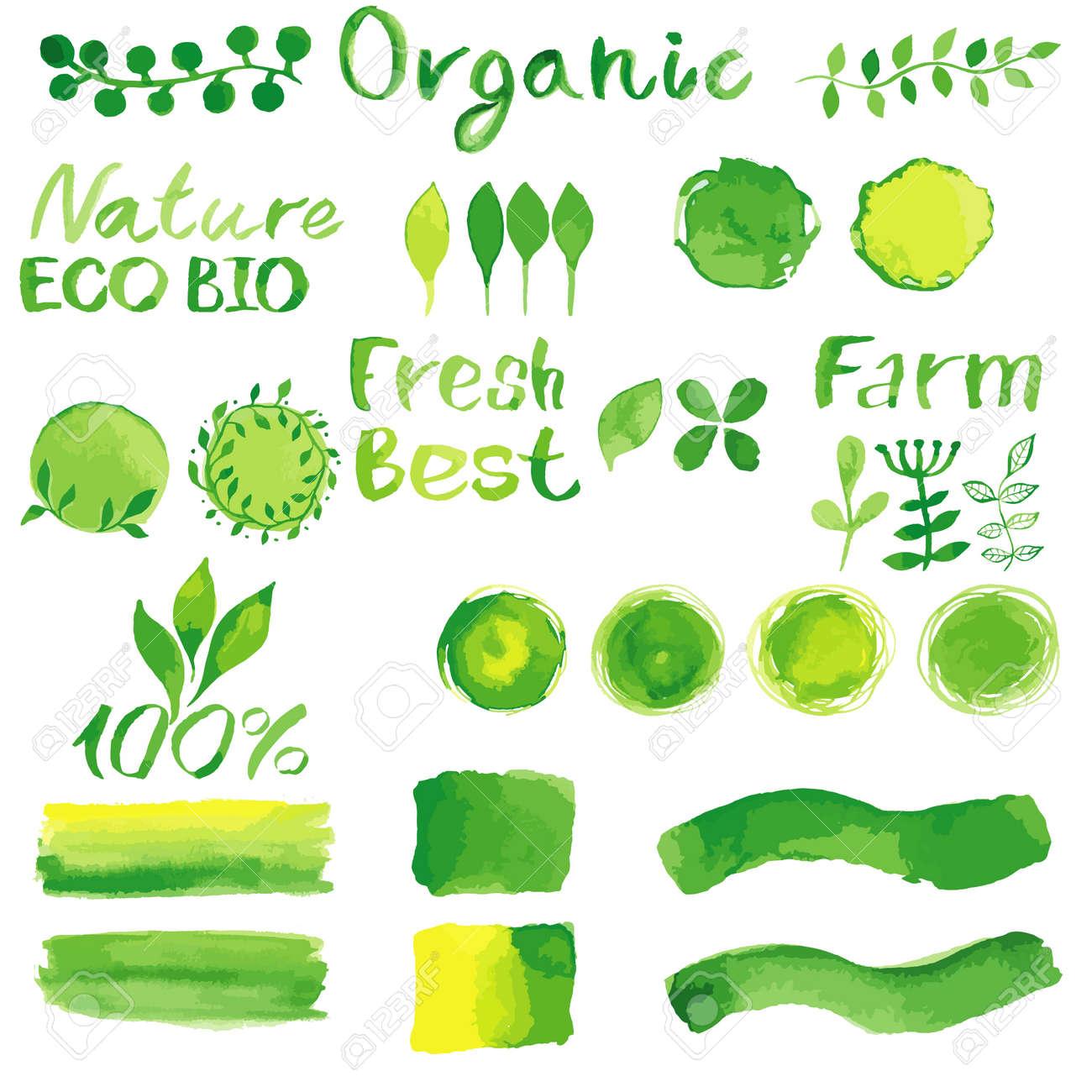 Set Of Watercolor Organic Bio Backgrounds Spots Font Logo