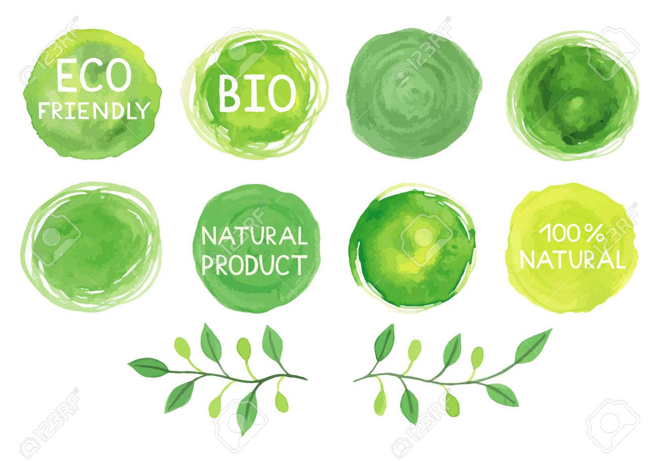 Set of watercolor green logos.Leaves,frames,lettering,badges,lettering, branches wreath,plants elements,laurels. Hand drawn painting.Sign label ,textured emblem set. - 52891238