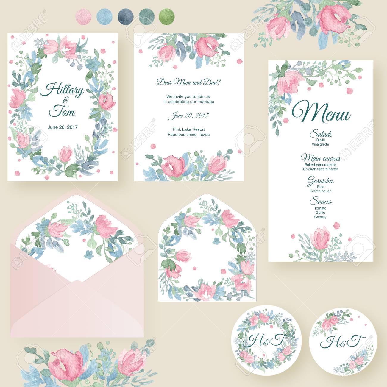 Aquarell Hochzeit Einladungskarten Suite Mit Zarten Rosen Und ... - Einladungskarten Hochzeit Rosen