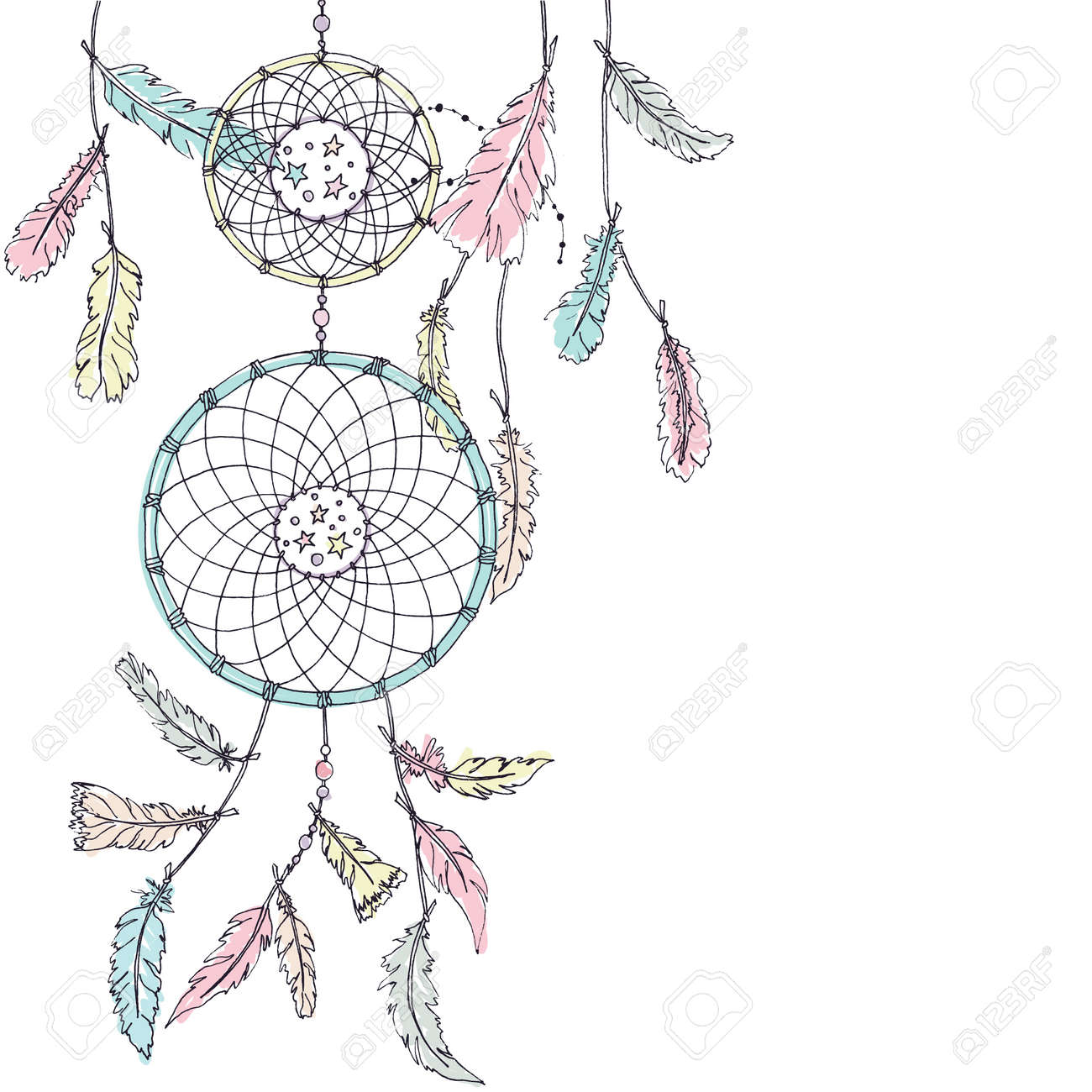 - Double Dream Catcher In Pastel Colors With Many Feathers And