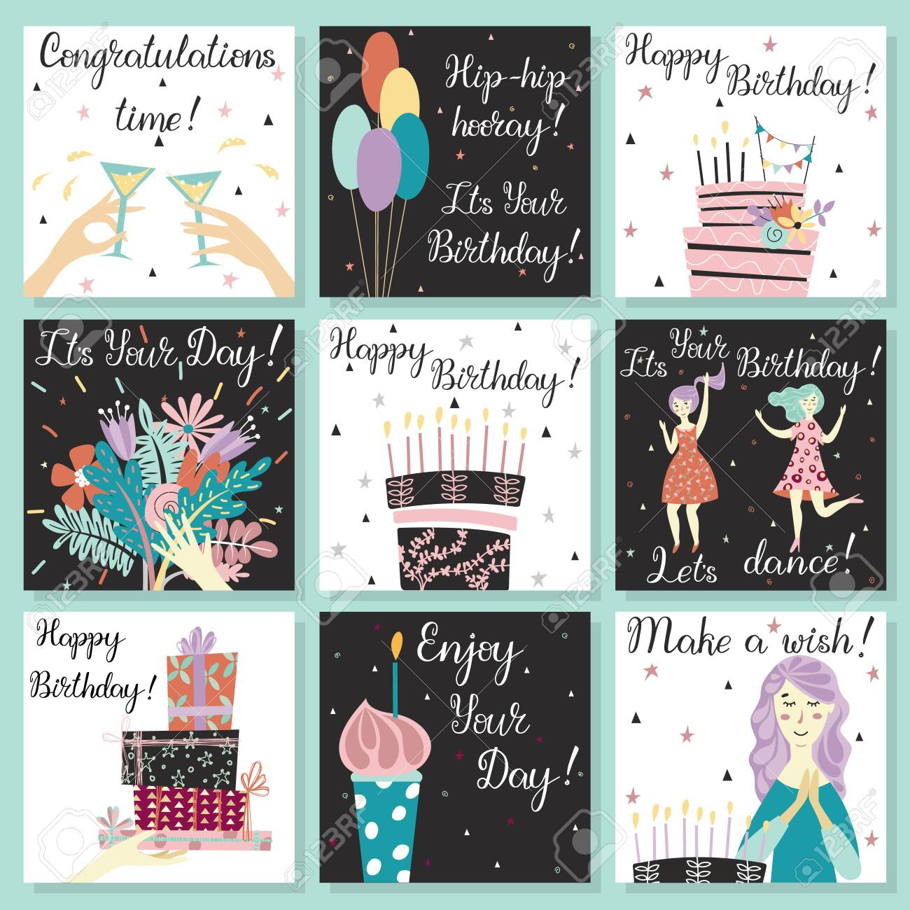 Birthday cards set. Birthday cake with candles and congratulations lettering. Girl making a wish. Hand with gifts and wishes of happiness. Bouquet of flowers in hand. Cupcake with a candle. Two girls dance in dresses at the birthday party. Glasses with a drink. Baloons. Birthday cake. - 122779027