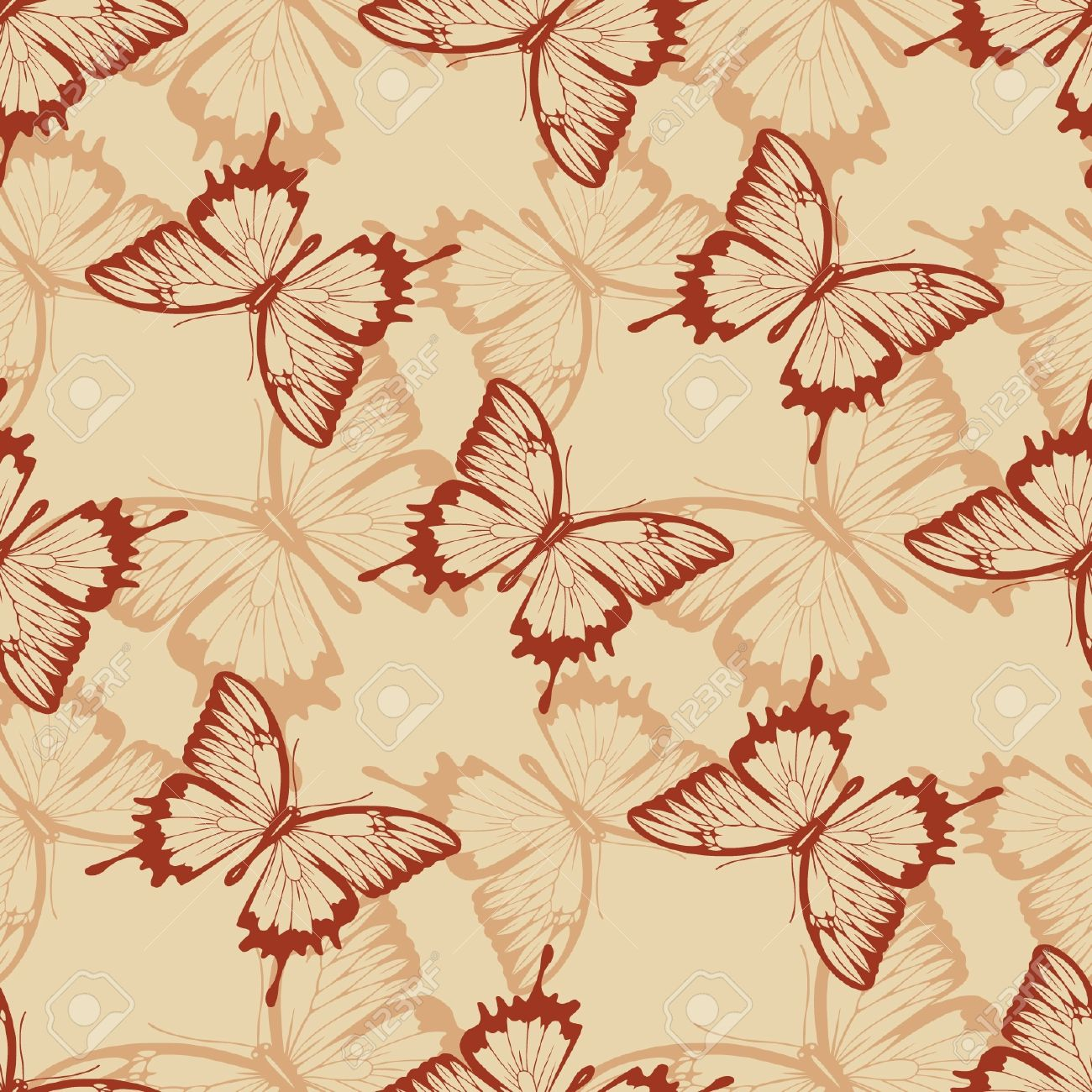 Vintage seamless background with butterflies Stock Vector - 12792066