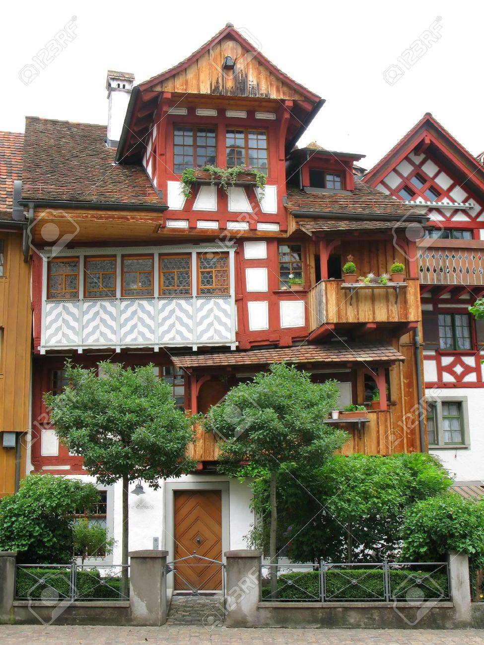 Traditional Swiss House In Arbon Canton Thurgau Stock Photo