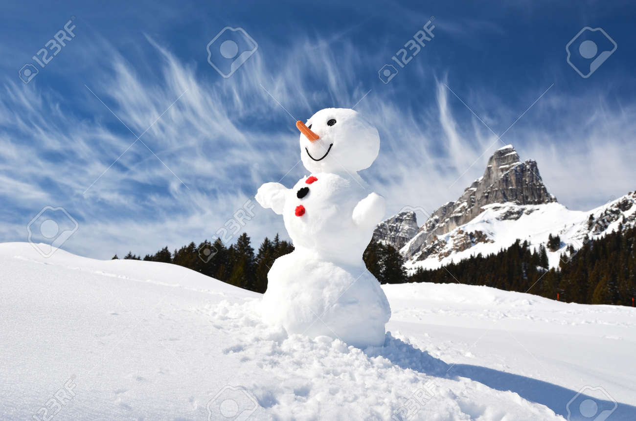 Funny snowman against Swiss Alps - 47311545