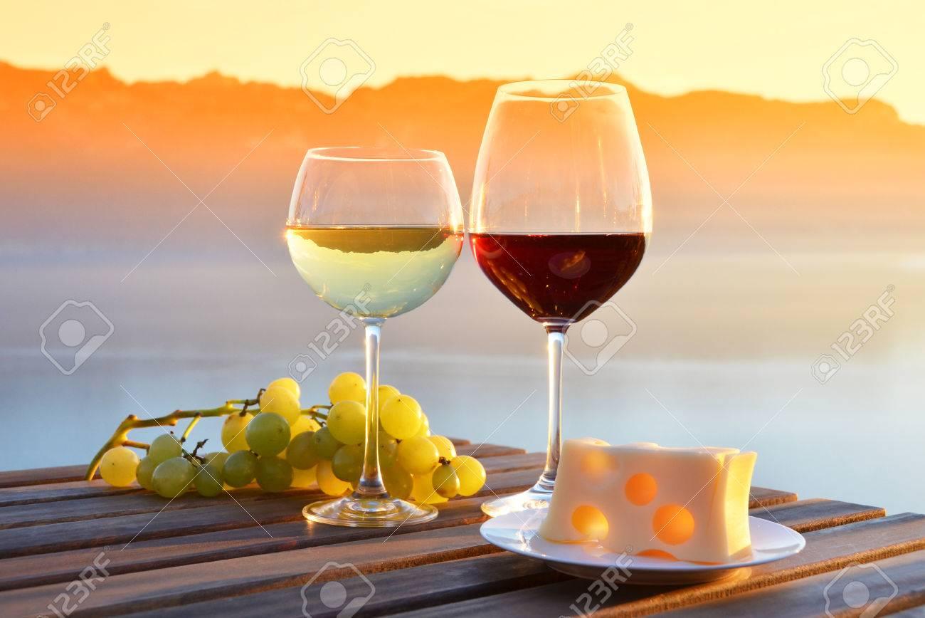 Wine and grapes against Geneva lake, Switzerland - 54396487