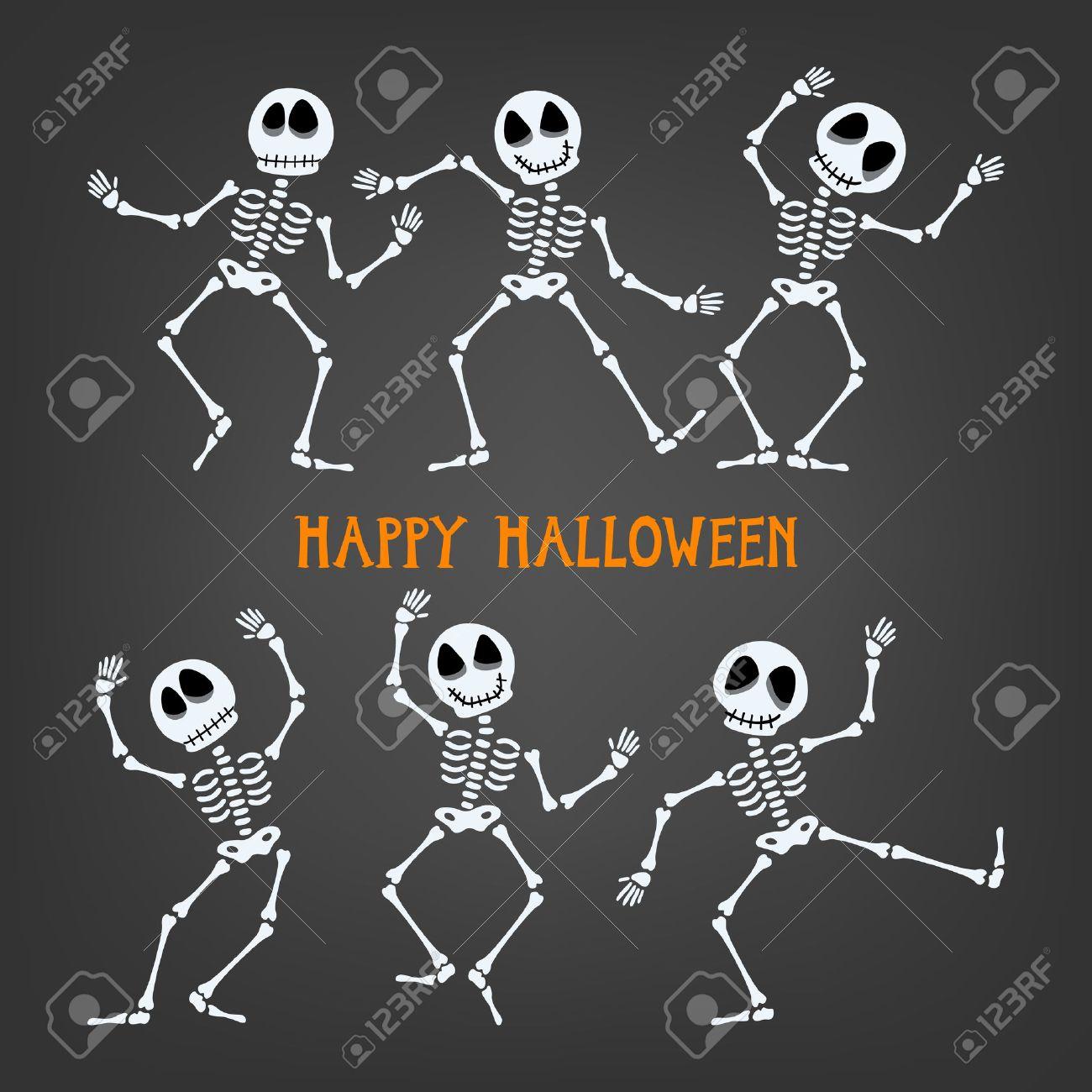 Set of dancing skeleton. Halloween skeleton with assorted expressions. Vector illustration. - 47258887