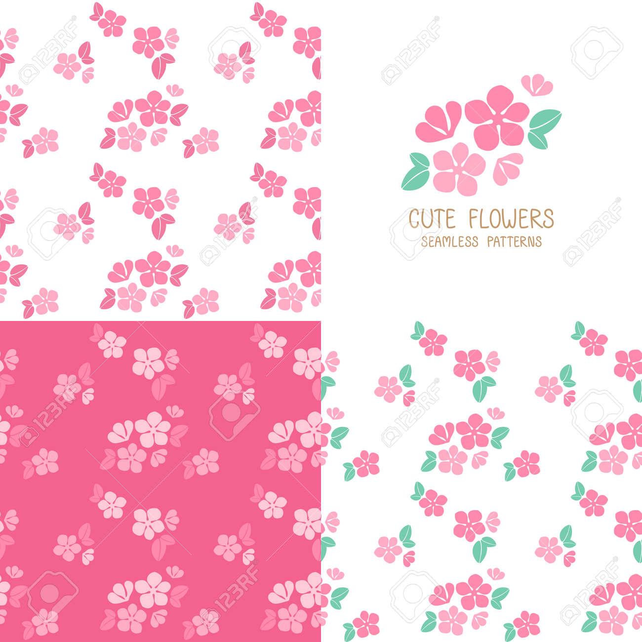 Conjunto De Patrones De Flores De Color Rosa Transparente. Linda ...