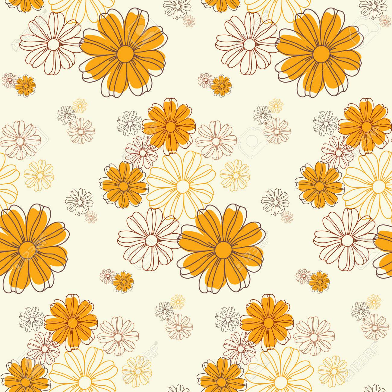 シームレスな花のパターンをかわいい花柄のテクスチャベクトル