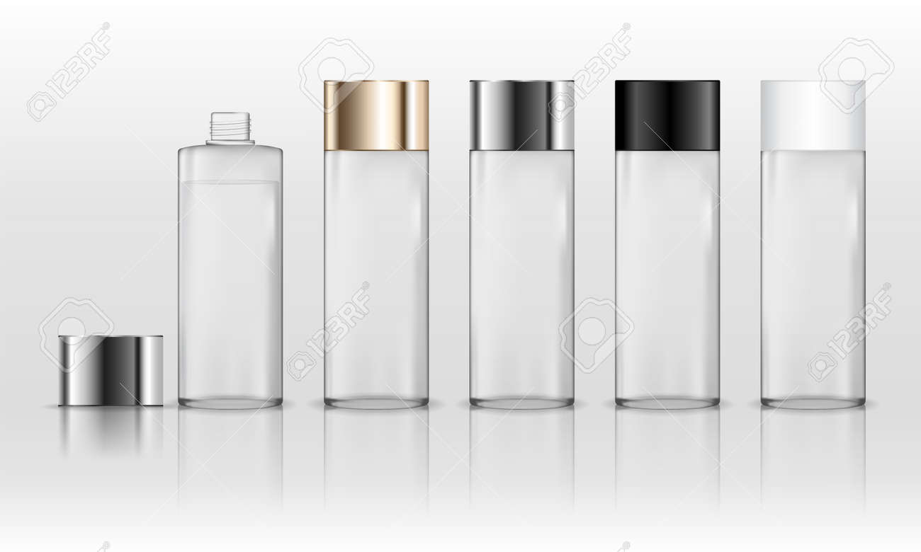 Cosmetic transparent plastic bottle. Liquid container for gel, lotion, cream, shampoo, bath foam. Beauty product package. Vector illustration. - 139736316