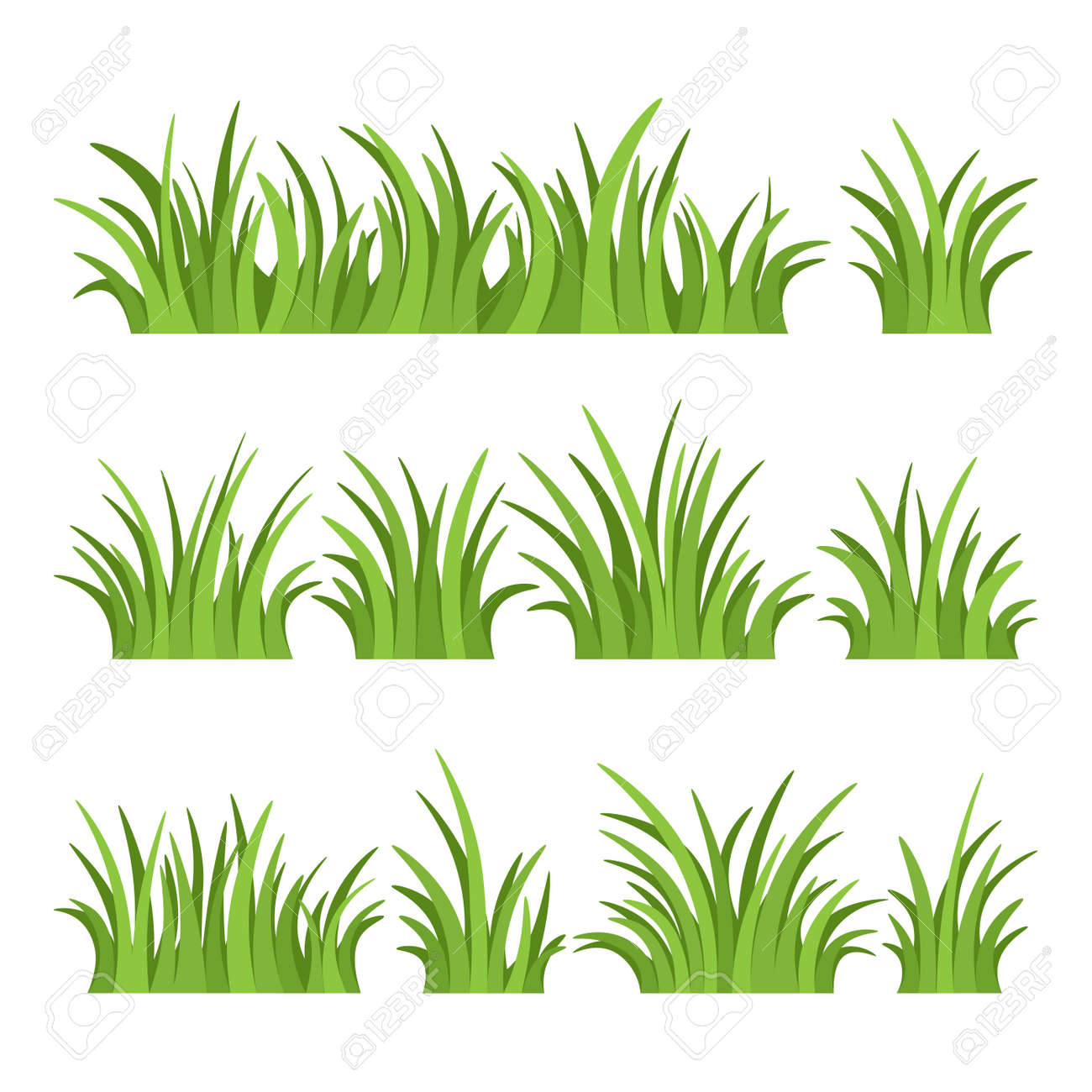 Set of green grass isolated on white background. Vector illustration. - 139736253