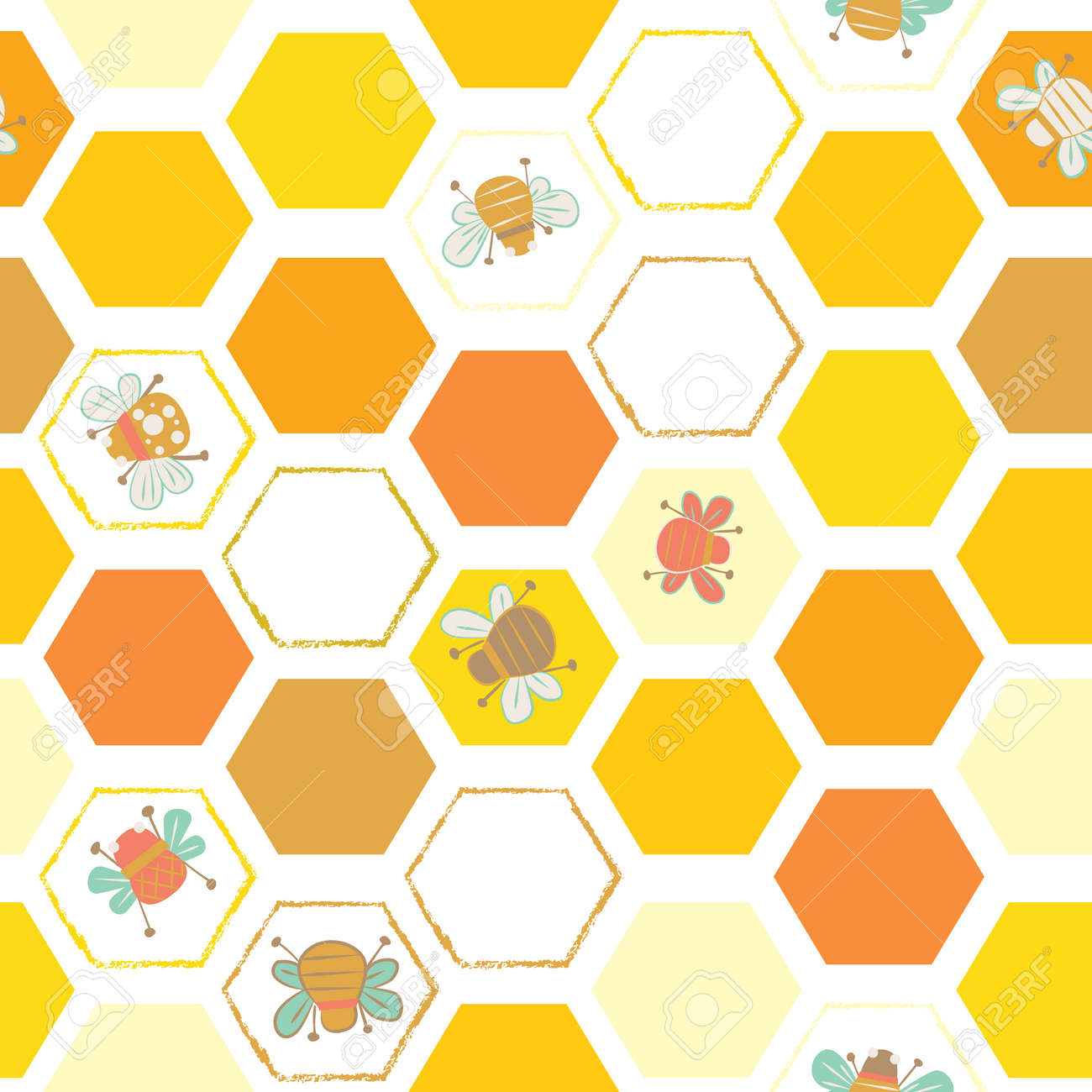 Vector Yellows Hexagonal Tiles With Bees Seamless Pattern Background Royalty Free Cliparts Vectors And Stock Illustration Image 110155464