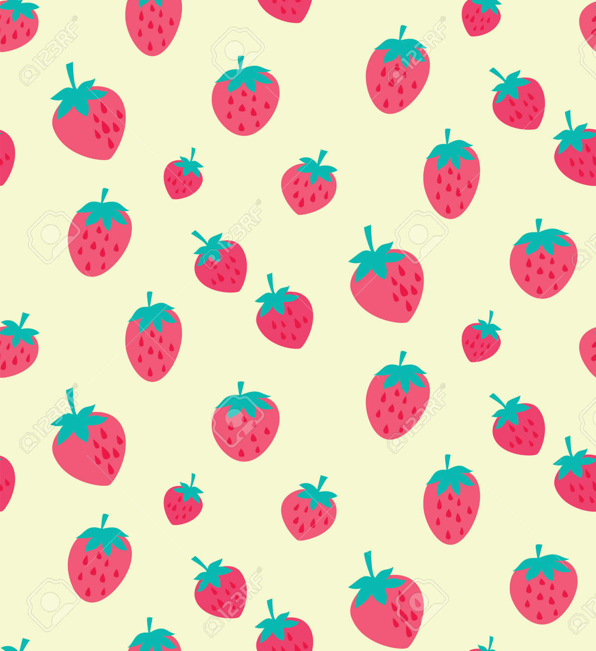 Vector Delicious Strawberries Seamless Pattern Background Ideal Royalty Free Cliparts Vectors And Stock Illustration Image 109761387