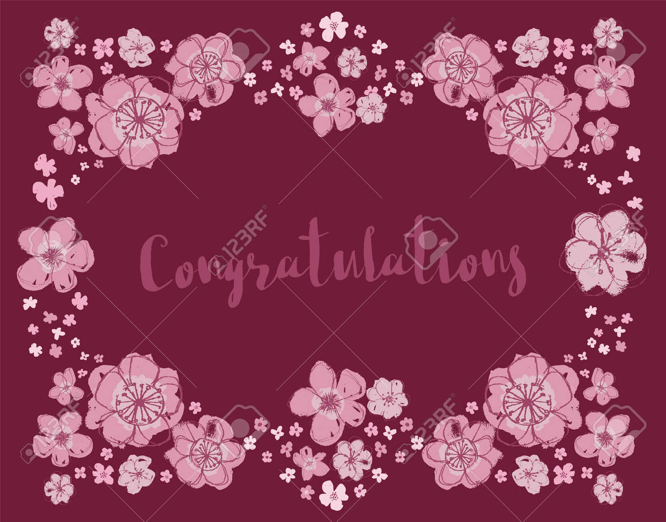 Congratulations vector pink and dark maroon editable floral wreath on a deep burgundy background. - 124088856