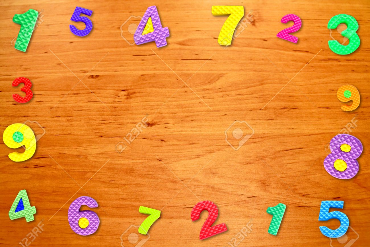 Colorful Frame Number On Wood Table Stock Photo