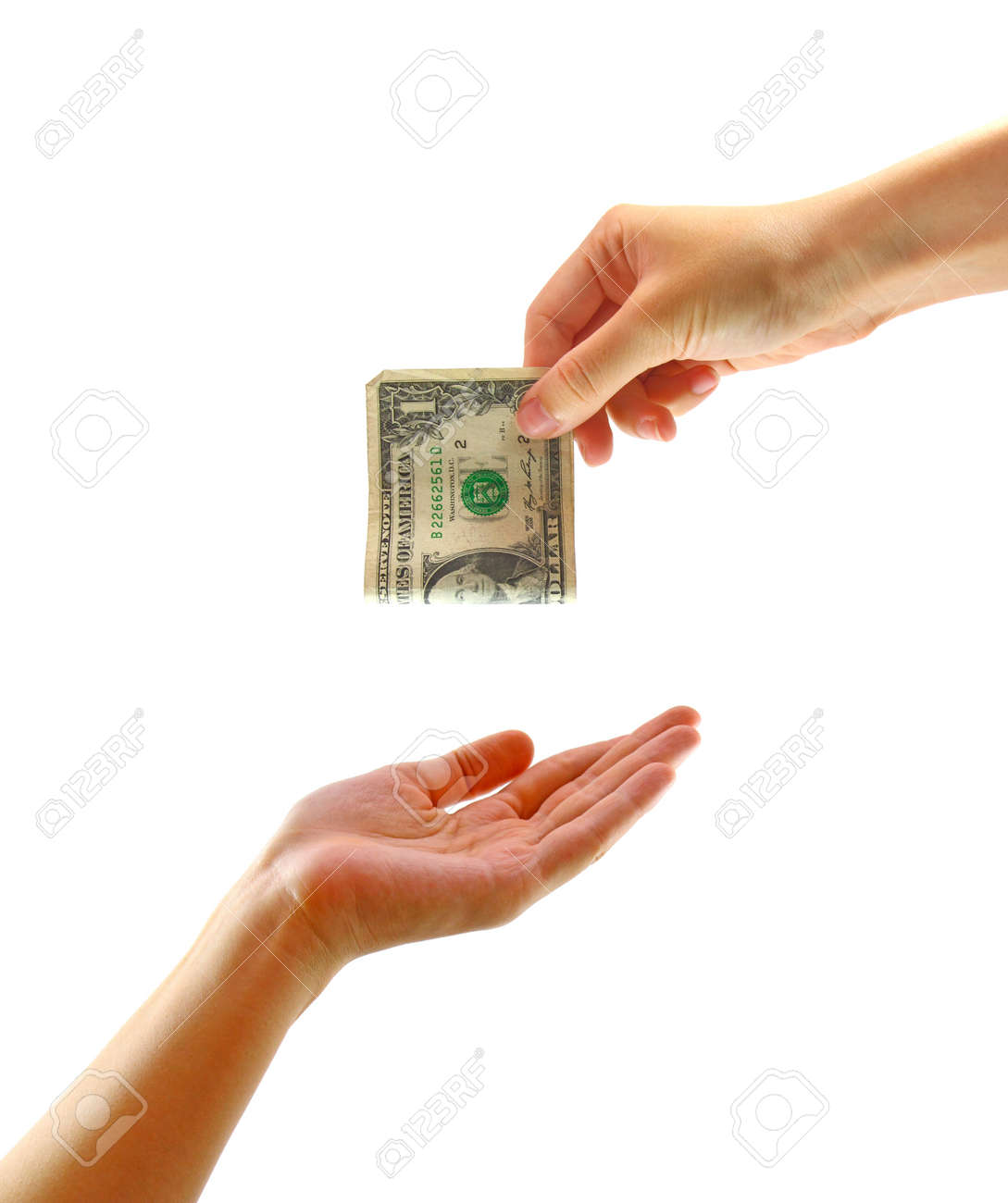 Hand giving money to other hand isolated Stock Photo - 10136575