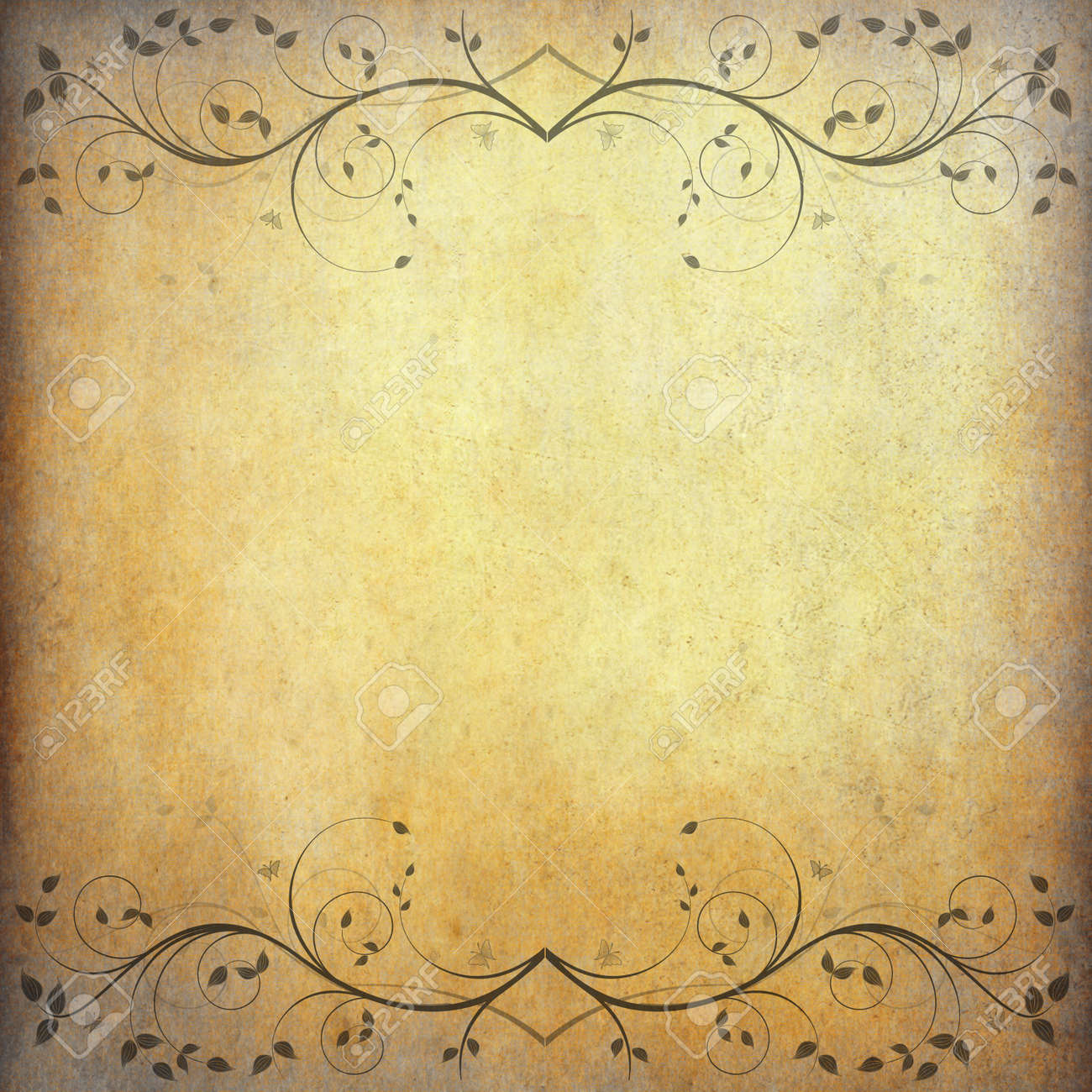 Old Grunge Paper Background With Vintage Flower And Space Stock