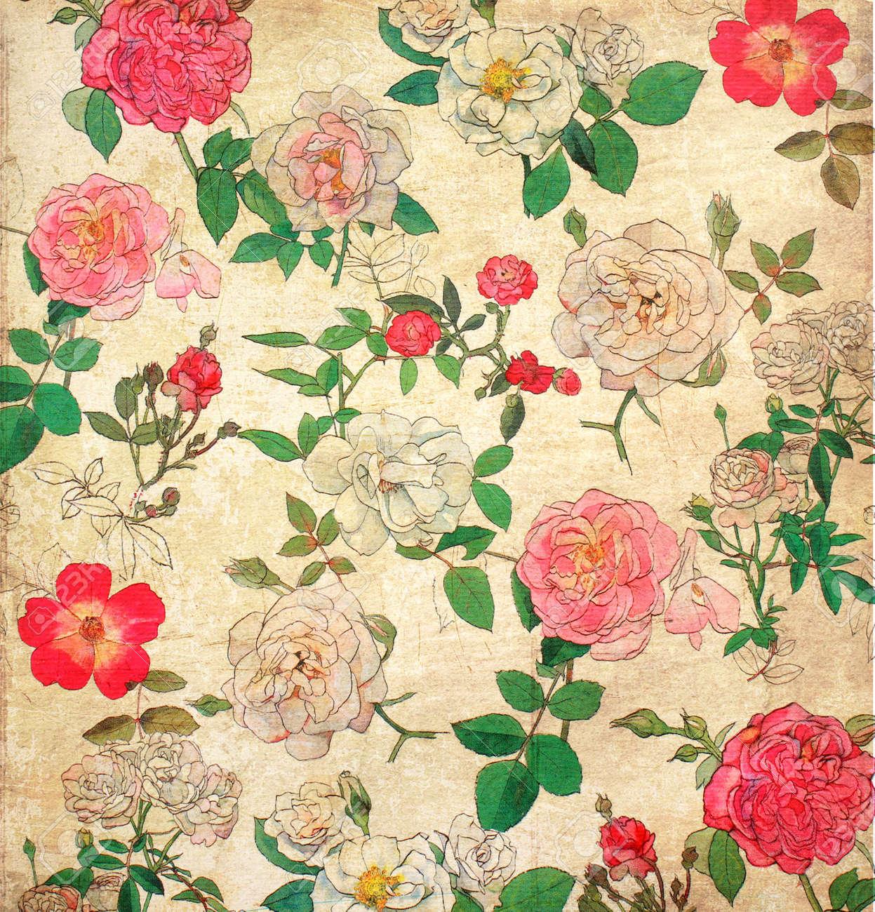 Floral vintage background - Floral Vintage Wallpaper For Background Stock Photo 15974911