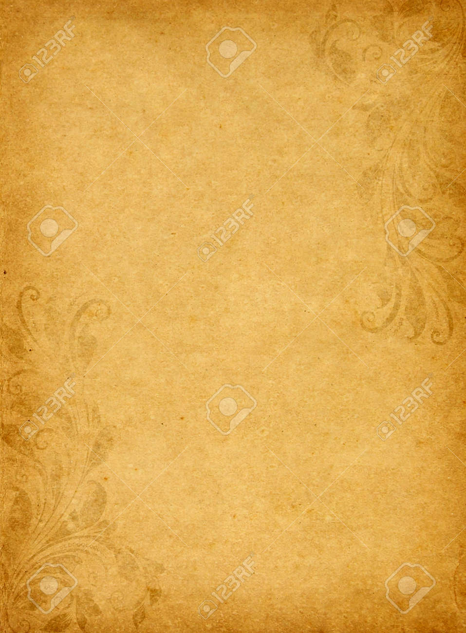 Old Grunge Paper Background With Vintage Victorian Style Stock Photo
