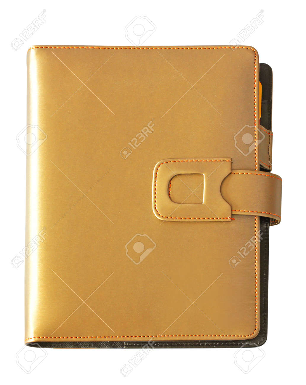 Leather brown cover notebook isolated on white background Stock Photo - 18128408
