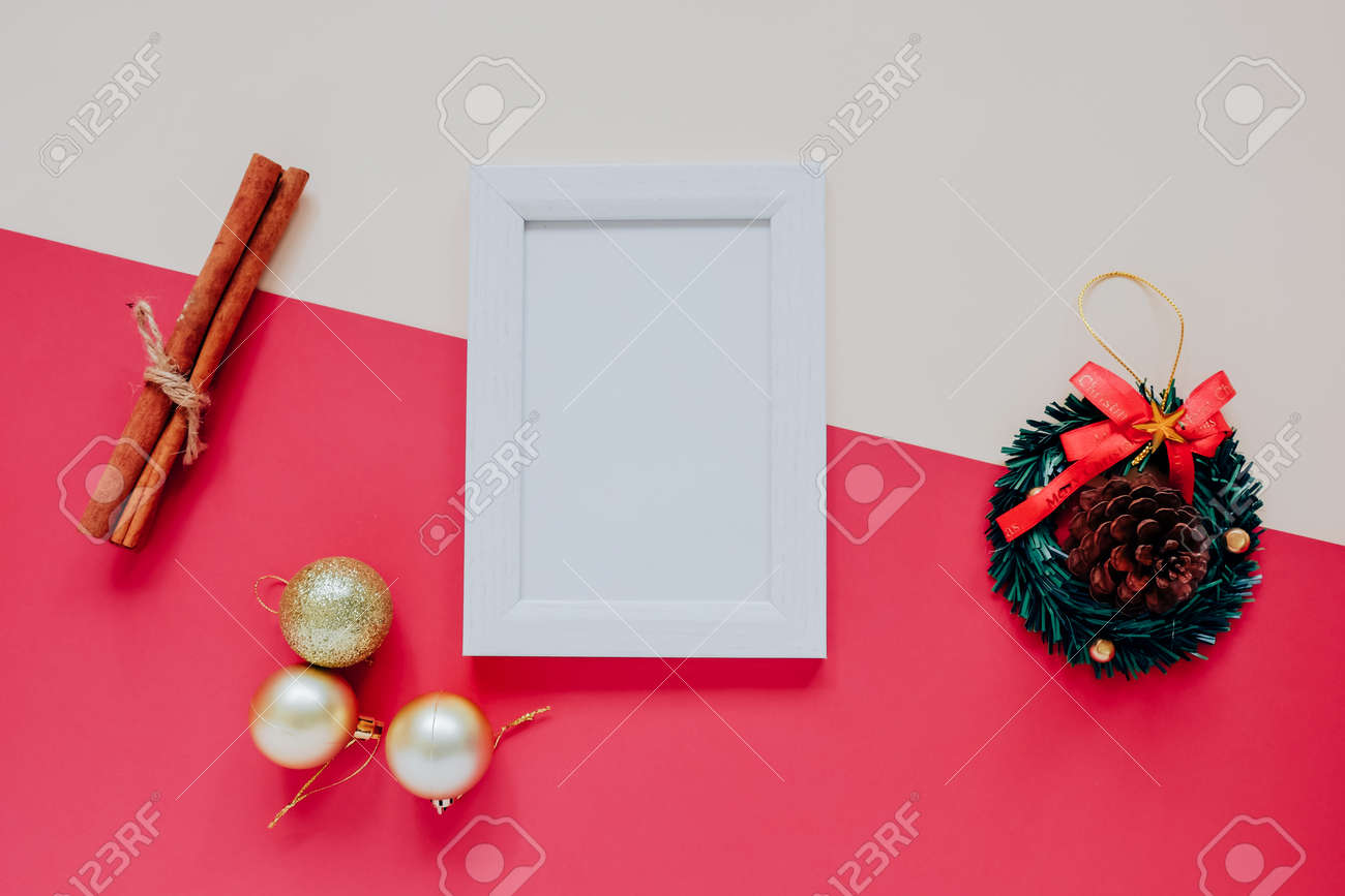 Creative Flat Lay Of Craft And Photo Frame Mock Up With Christmas ...