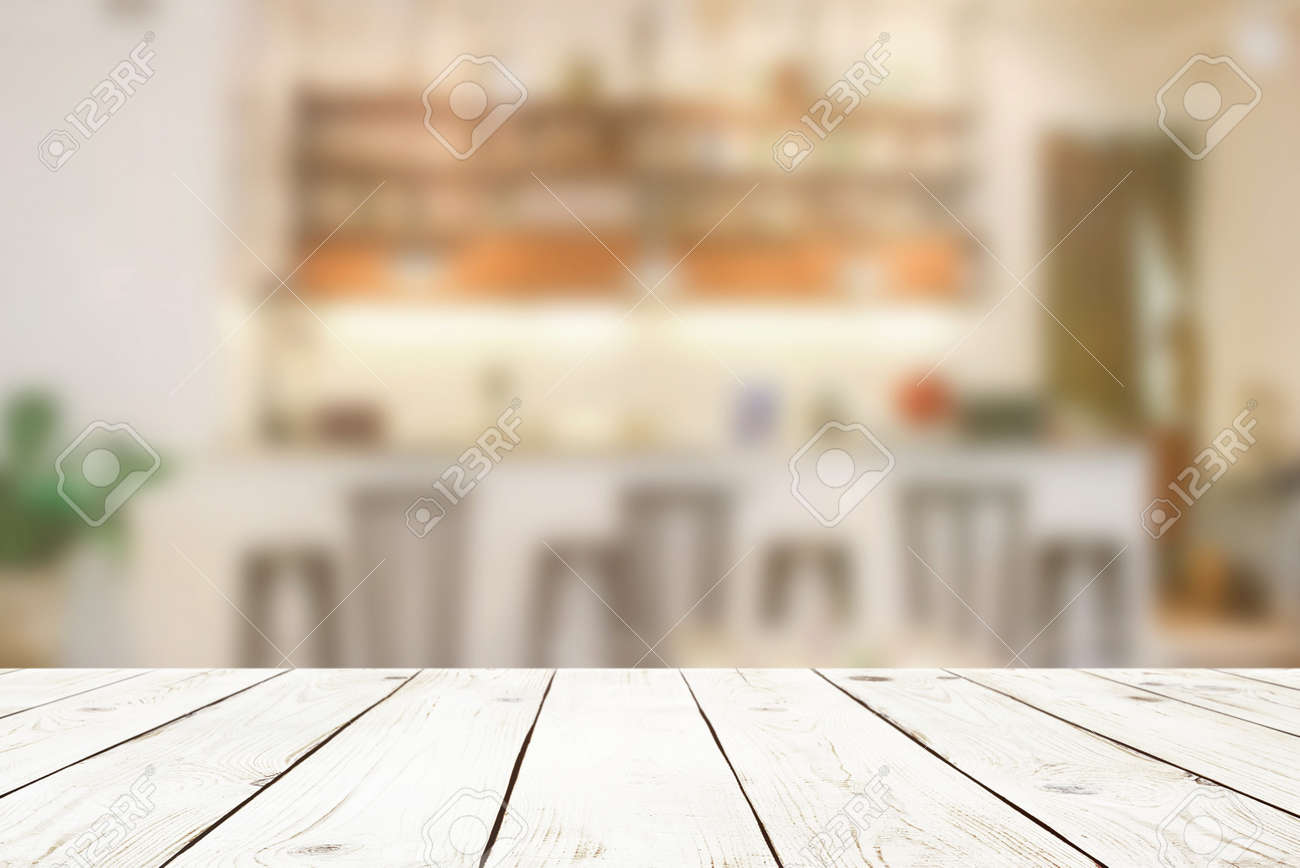 Fabulous Empty Wood Table Top On Blur Abstract Of Cafe Or Bar Background Home Interior And Landscaping Pimpapssignezvosmurscom