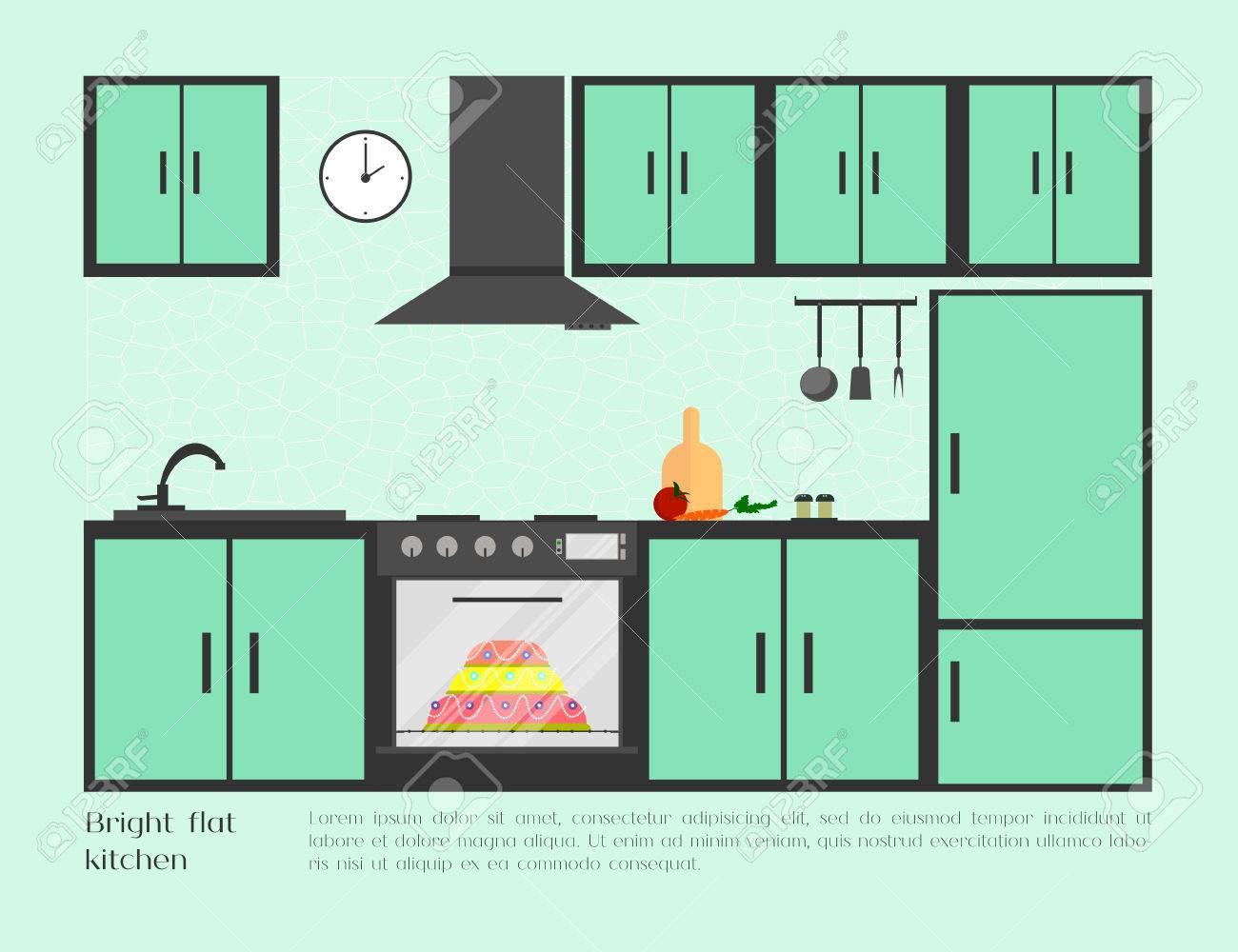 Home, Cafe Or Restaurant Bright Flat Kitchen With Kitchen Sink ...