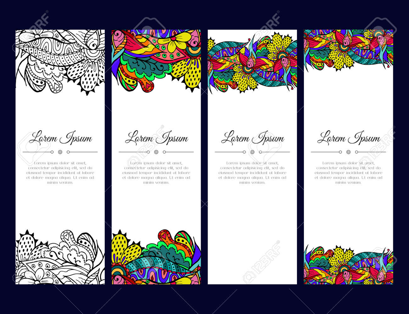 Set of cards or banners with colorful floral ornament indian vector illustration set of cards or banners with colorful floral ornament indian mehndi east style good stopboris Images