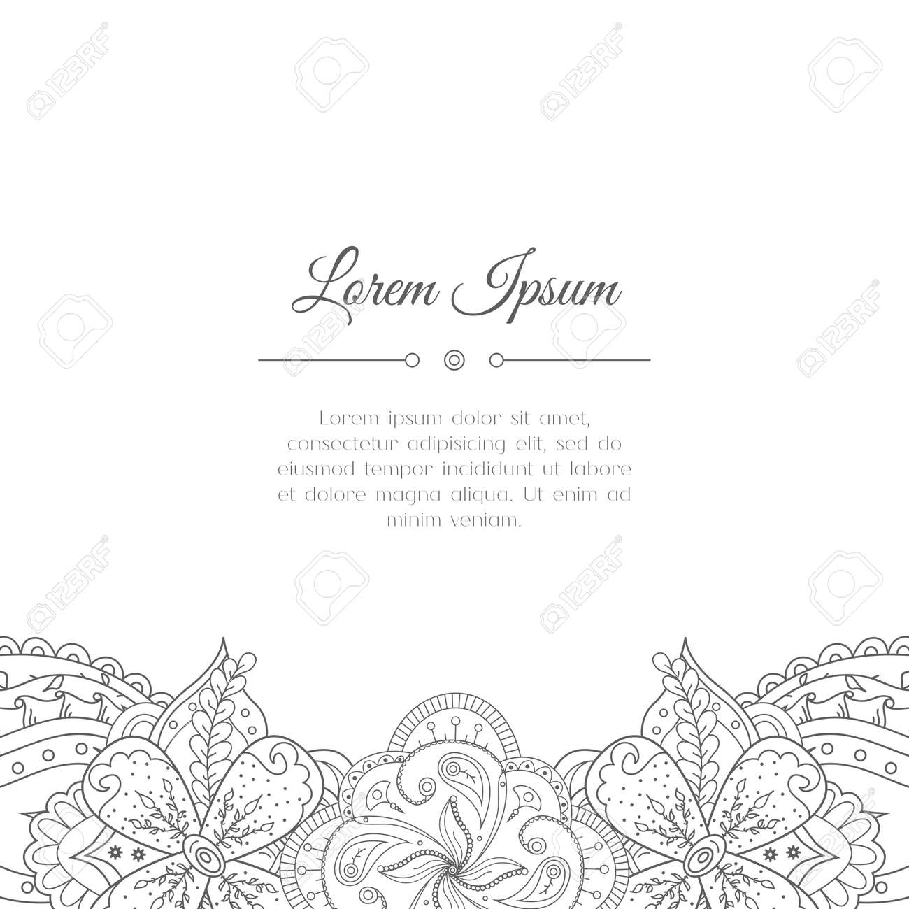 Hand drawn doodle floral border abstract zentangle background vector illustration hand drawn doodle floral border abstract zentangle background mehndi indian east henna design stopboris Images
