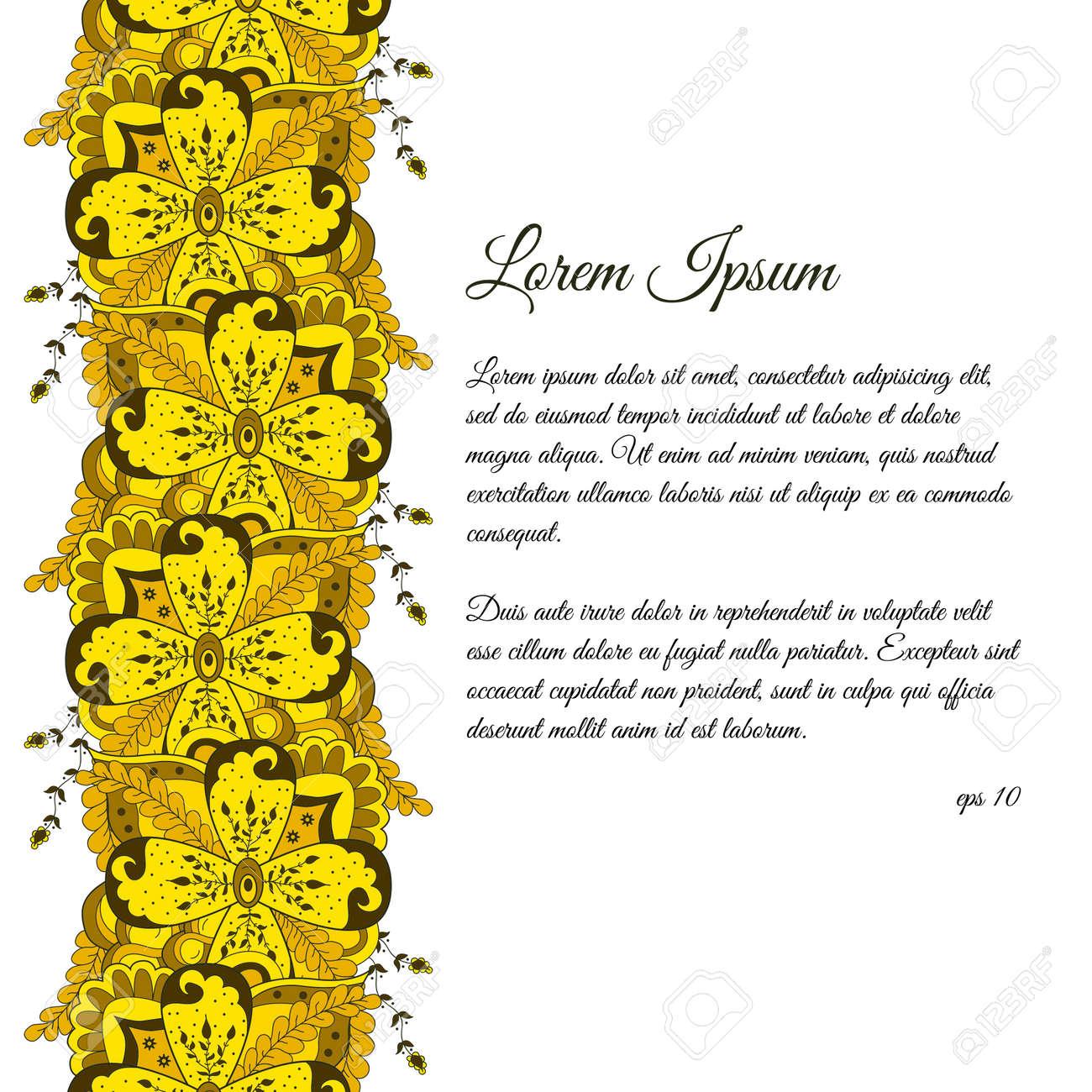 Hand Vertikalen Floralen Doodle Grenze Gezogen. Zusammenfassung ...