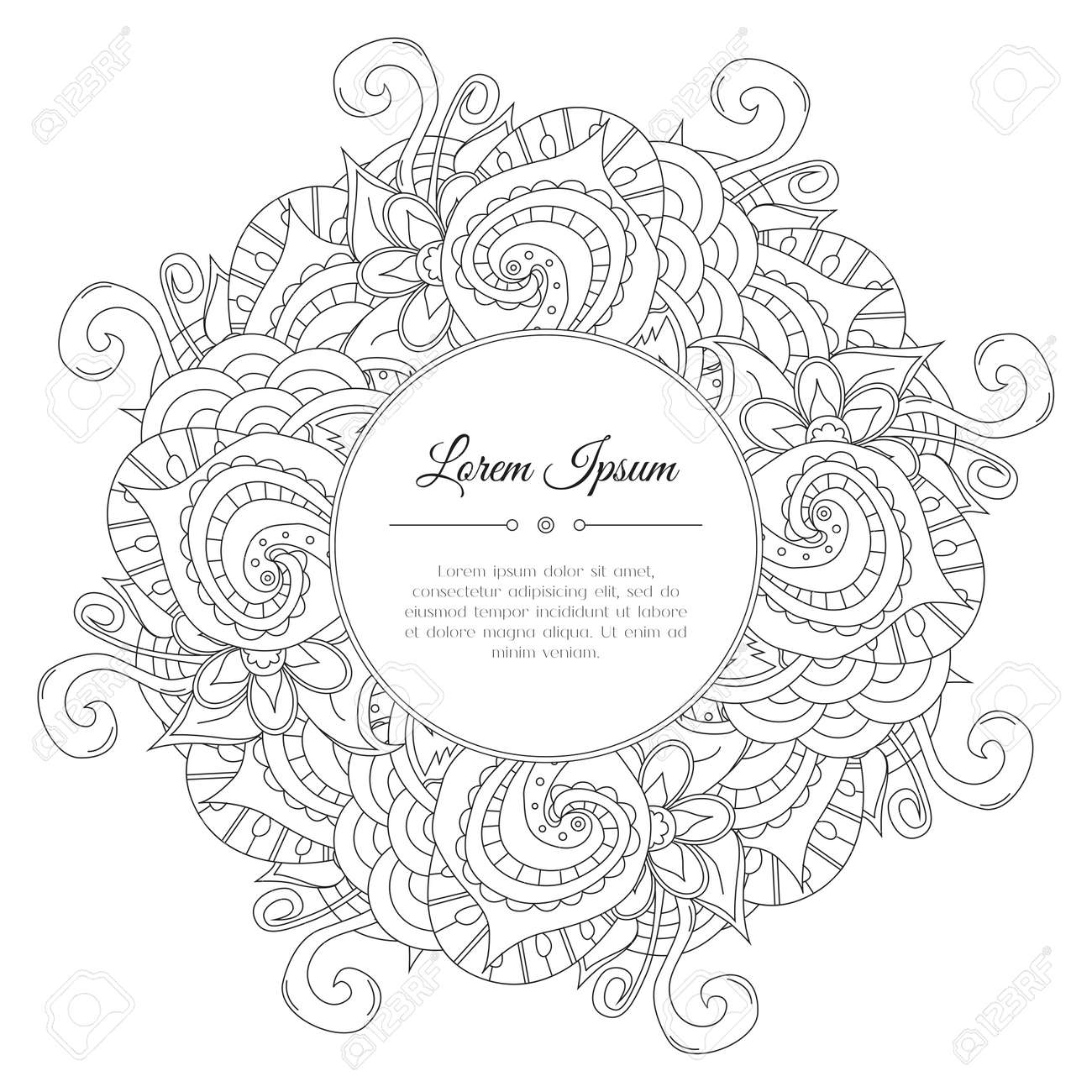 Black And White Hand Drawn Floral Doodle Frame. Flowers, Leaves ...