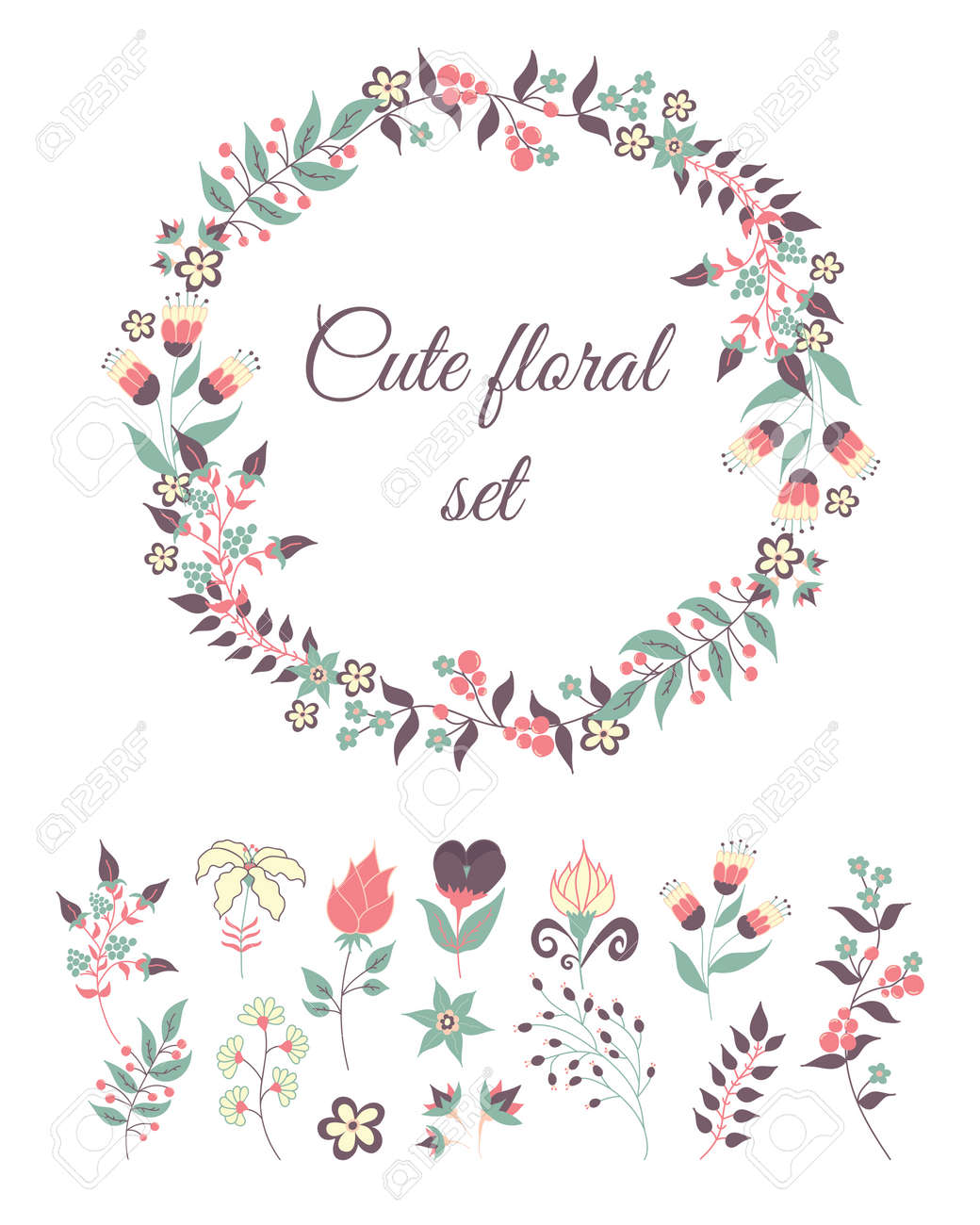 set of cute doodle flowers and wreath for decoration or cards