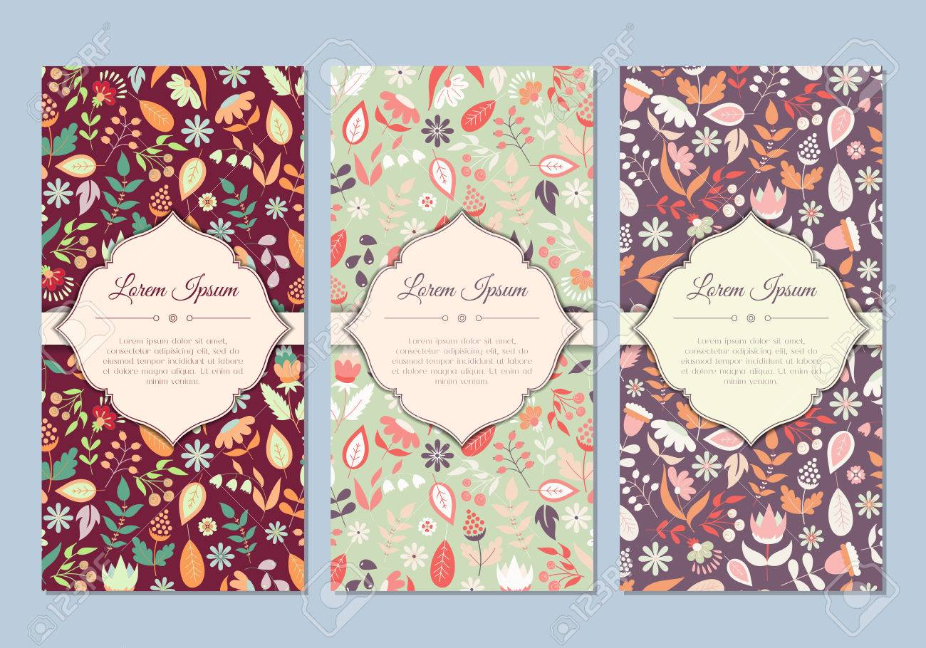 Cute vintage doodle floral cards set for invitation label banner vector cute vintage doodle floral cards set for invitation label banner wedding party stopboris Images