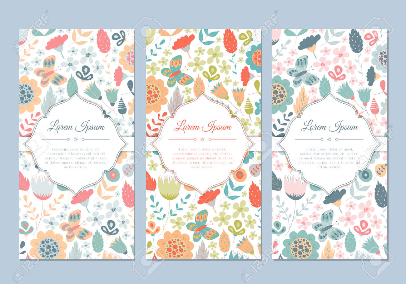 Cute vintage doodle floral cards set for invitation label banner cute vintage doodle floral cards set for invitation label banner wedding party stopboris Images