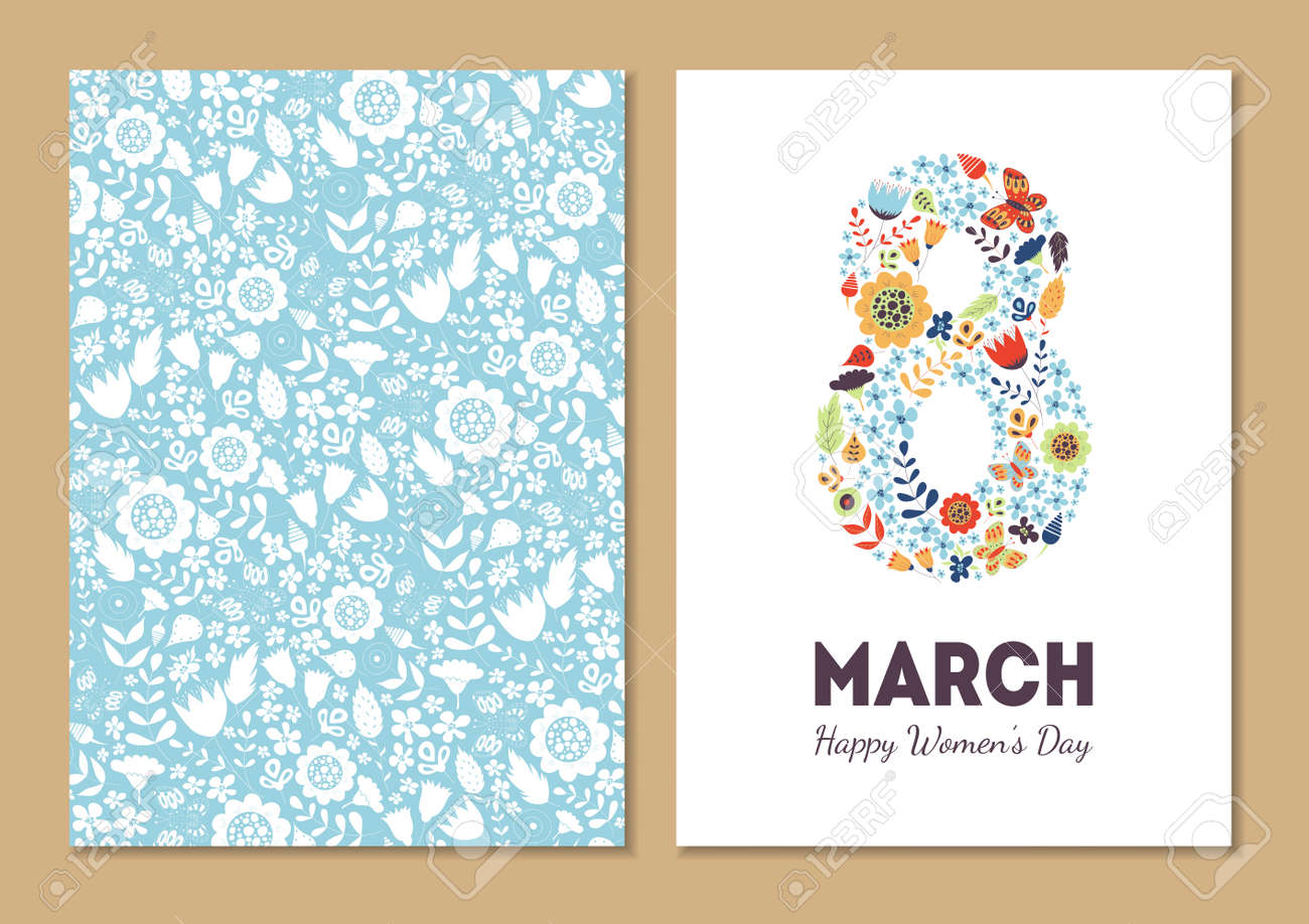 Cute vintage floral holiday cards set. 8 shape with flowers and leaves. Beautiful background cards for greeting, invitation, greeting with women's day, 8 march. Spring holiday. Gentle - 53223466