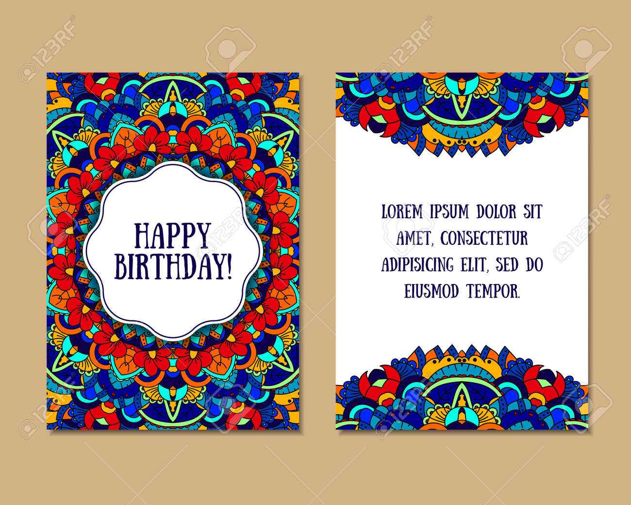 Greeting Cards Set With Colorful Mandala Pattern East Indian – Indian Birthday Cards