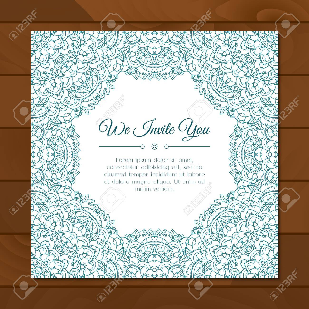 Greeting Card With Colorful Mandala Pattern East Indian Style Beautiful Background For