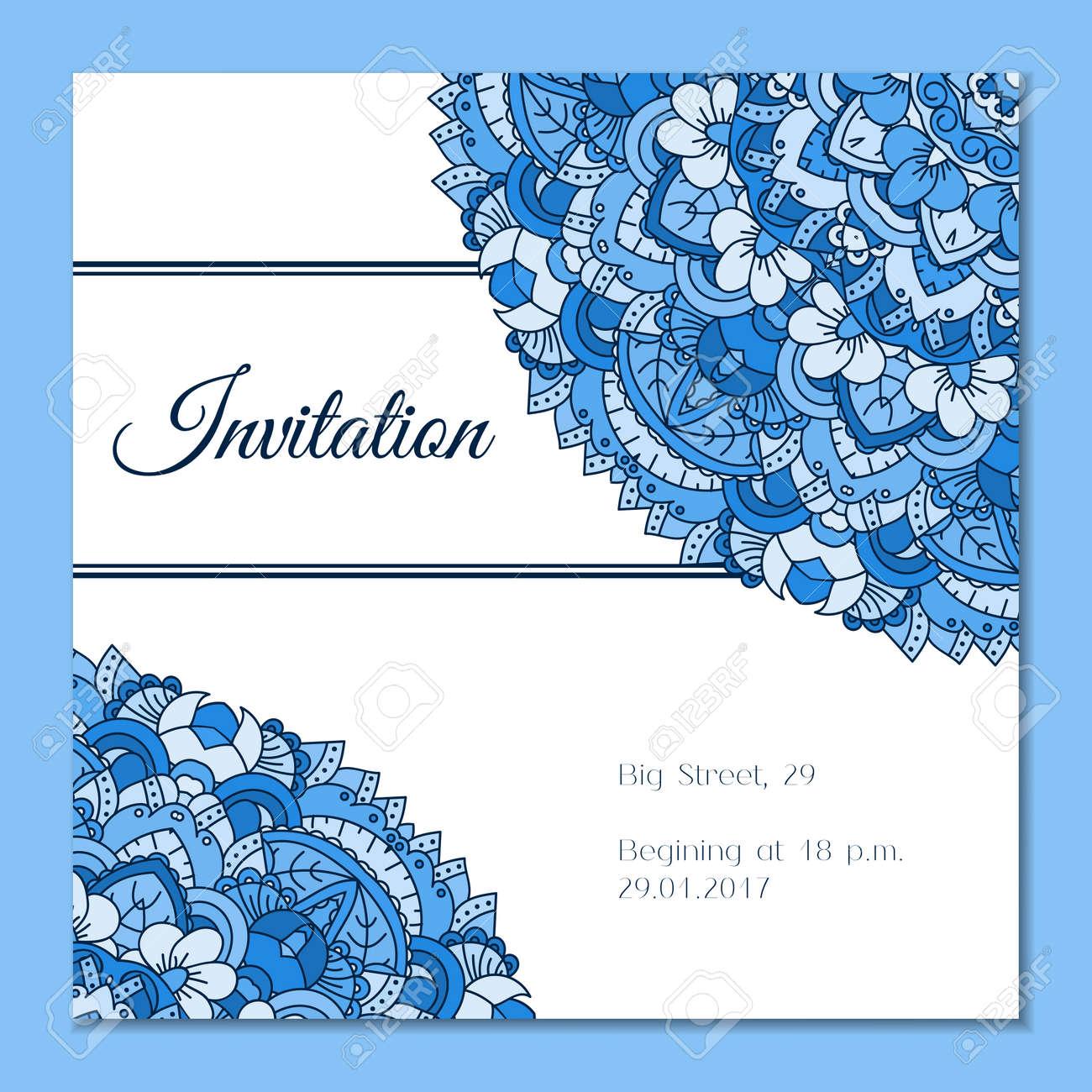 Tarjeta De Felicitación Con Modelo De La Mandala Colorida Estilo De Las Indias Orientales Fondo Hermoso Para La Tarjeta El Partido O La Invitación