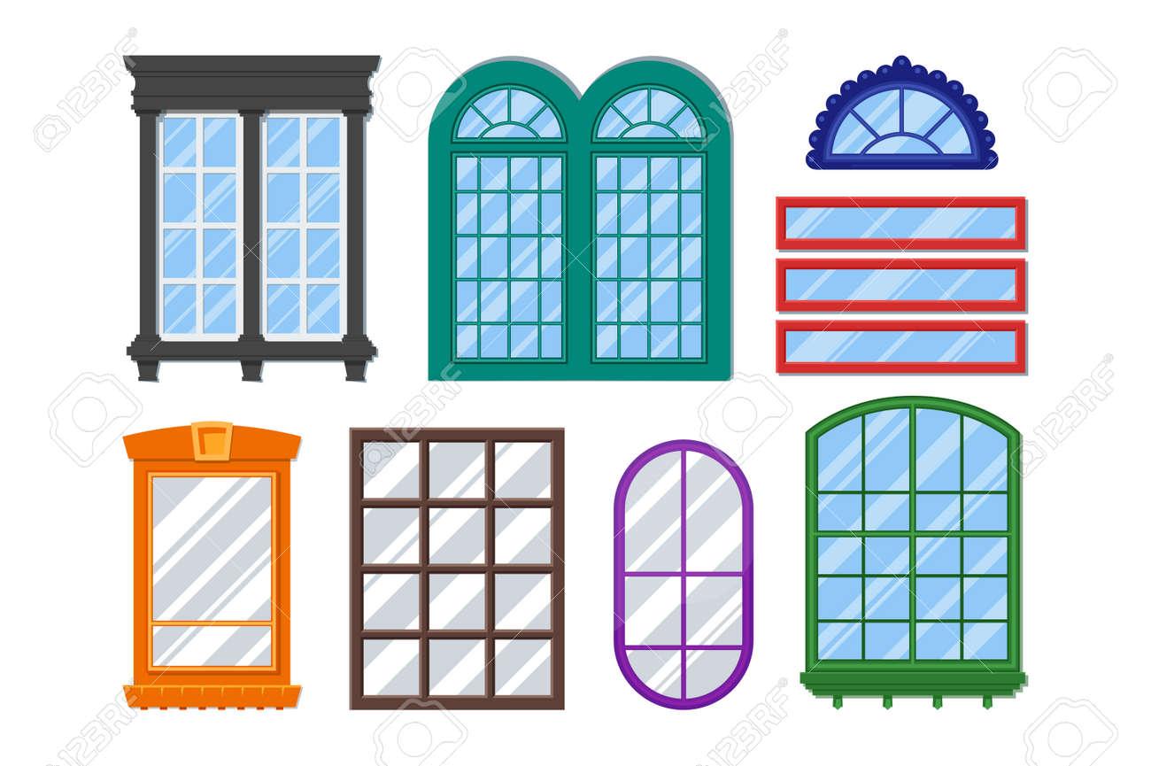 Reihe Von Detaillierten Fenster Für Den Privaten Haus Oder Gebäude ...