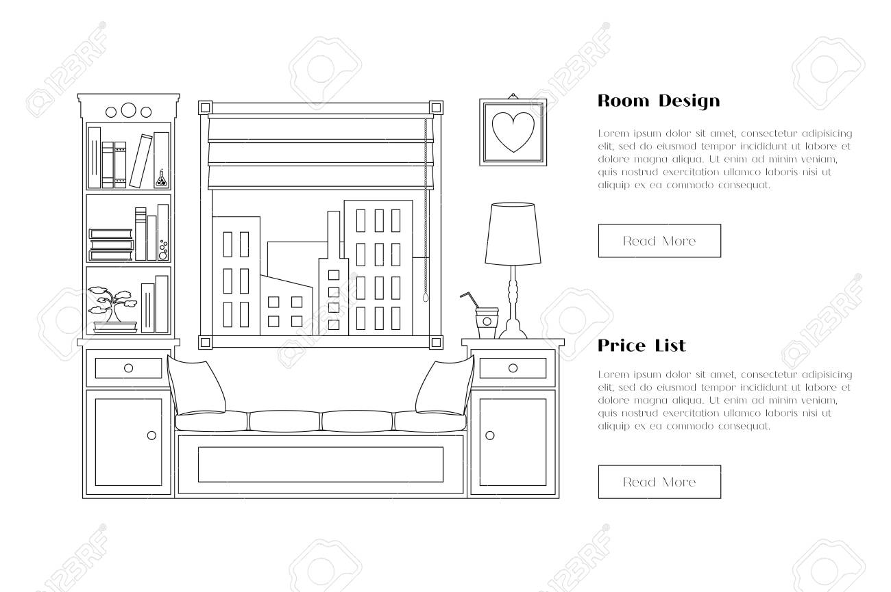 Line flat room illustration with window and shelves  Place for