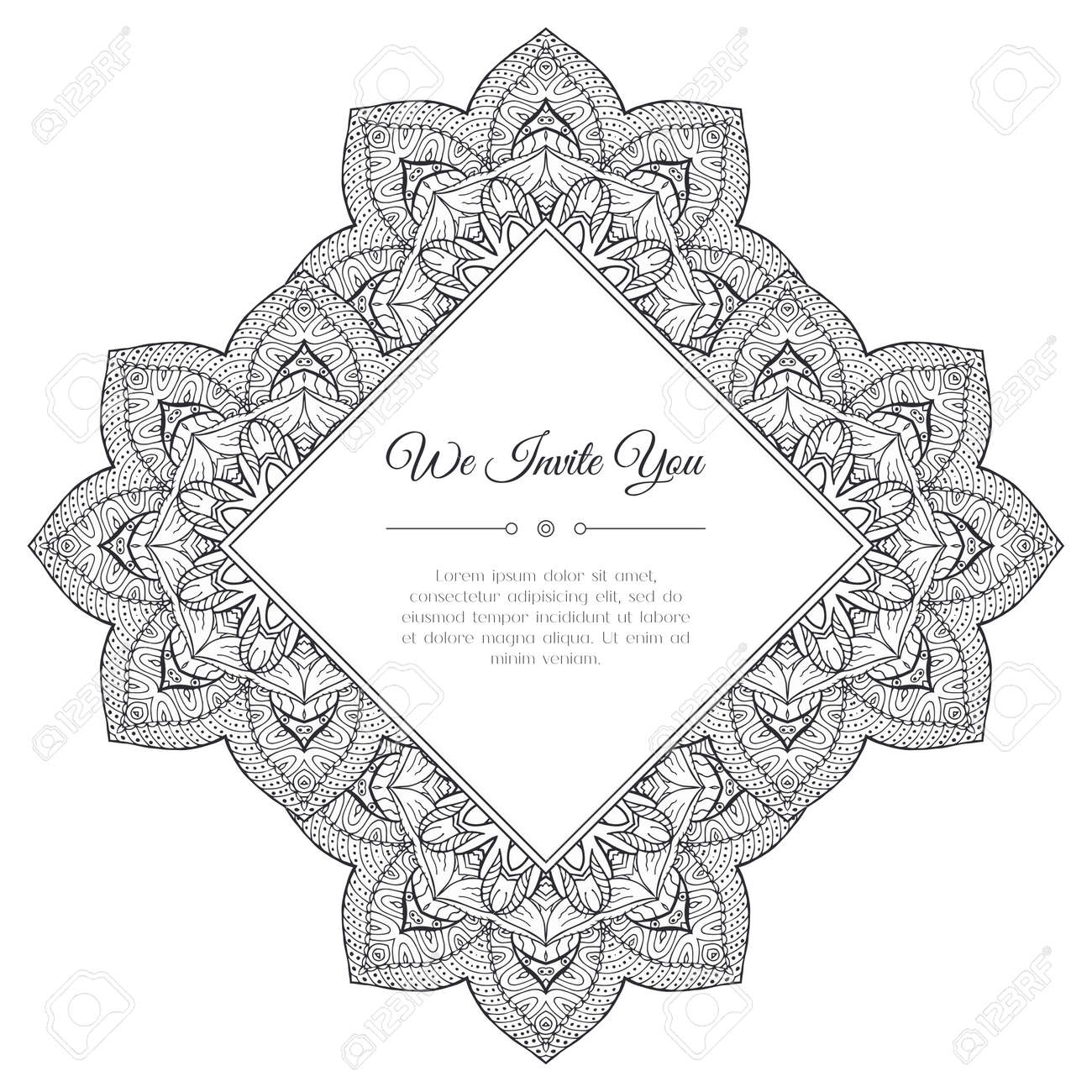 Black And White Doodle Frame. Abstract Floral Background. Good ...