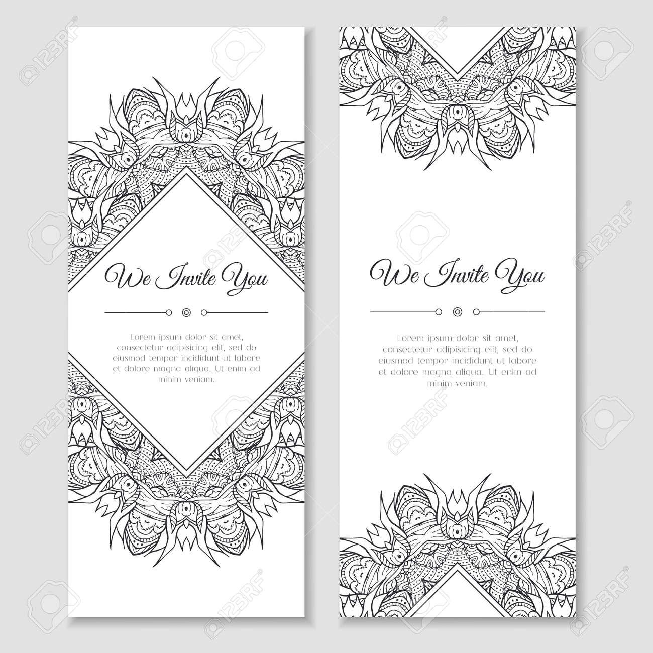 Set of cards with mandala ornamental frame indian mehndi east set of cards with mandala ornamental frame indian mehndi east style good for wedding stopboris Images