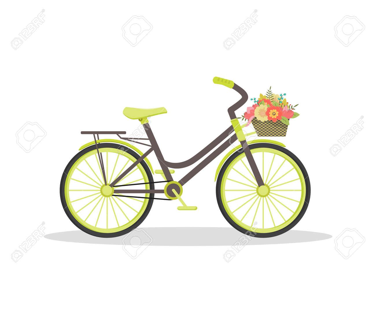 Schöne Wohnung Rustikale Fahrrad Mit Blumen Im Korb. Floral Vintage Reise  Konzept.