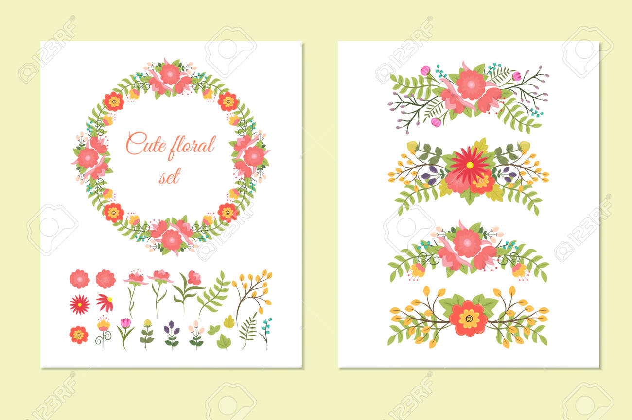 set of cute doodle wreath borders design elements flowers and