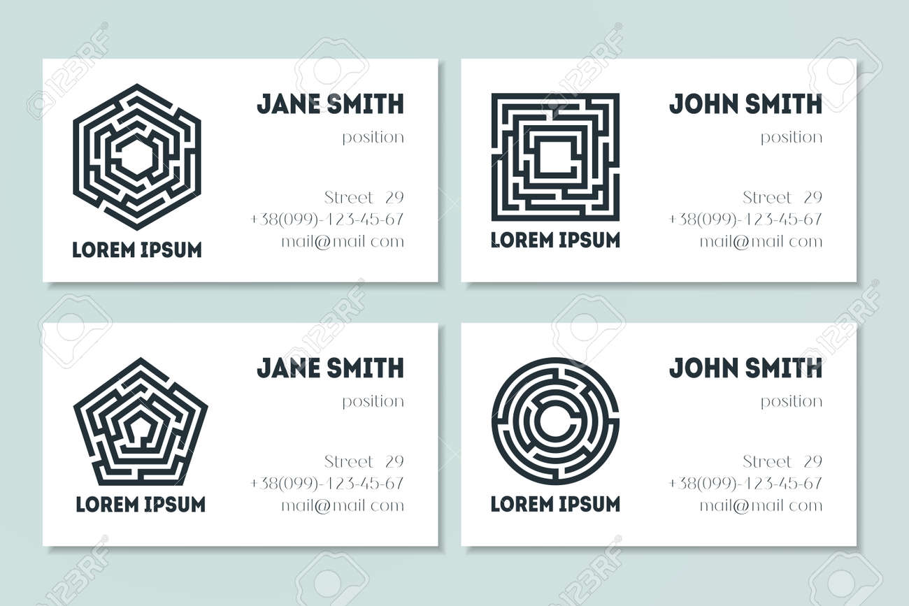 Set Of Business Cards With Maze. Collection Of Labyrinths In ...