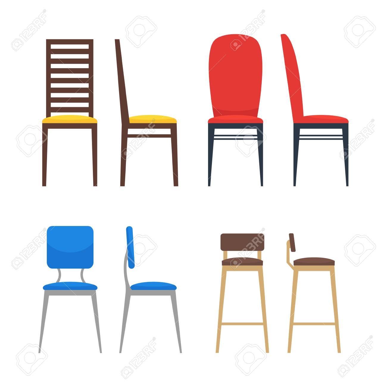 Colorful Chairs Icon Set Home Seating Furniture For Living Room