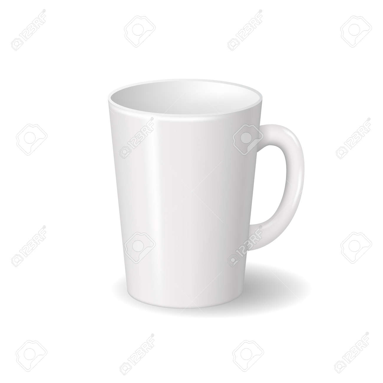 Realistic isolated white ceramic cup with shadows. For drinks, coffee, tea template for mock up brand design. Vector illustration - 126408320