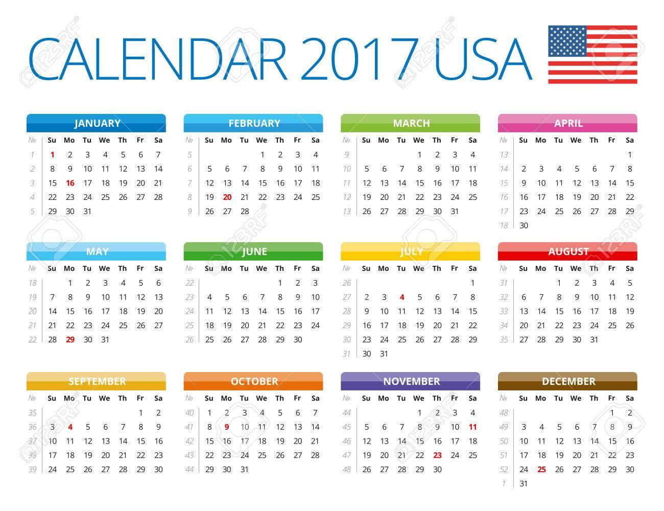 usa calendar 2017