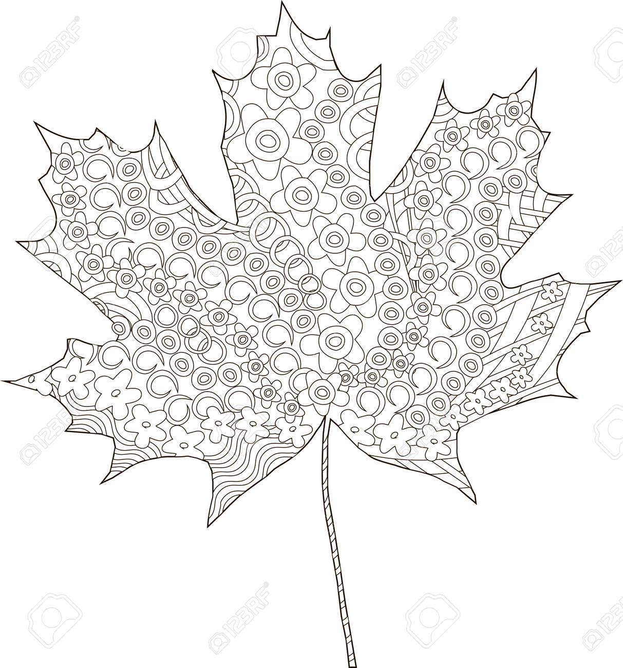 maple ornaments leaf sketch thin black line on white coloring