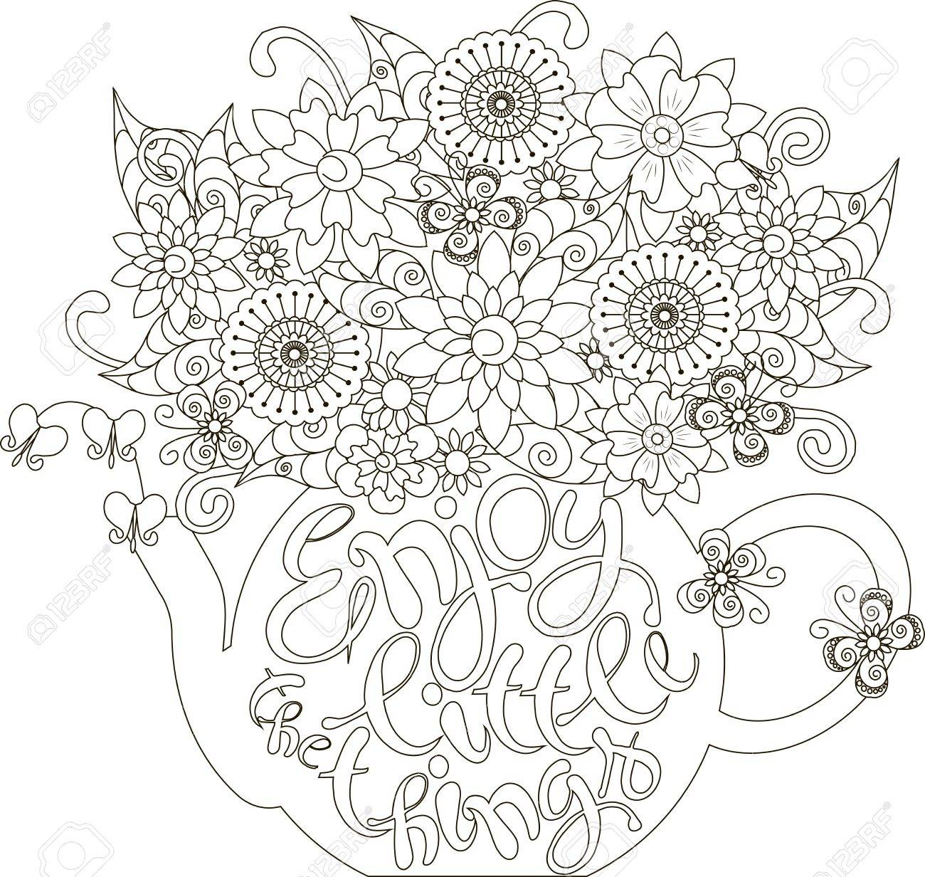 Lettering Enjoy Little Things Bouquet In A Teapot Coloring