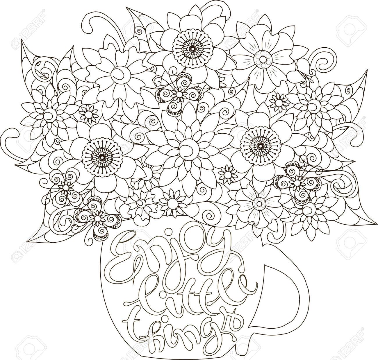 Letras Disfrutar De Pequenas Cosas Ramo De Flores En Una Taza